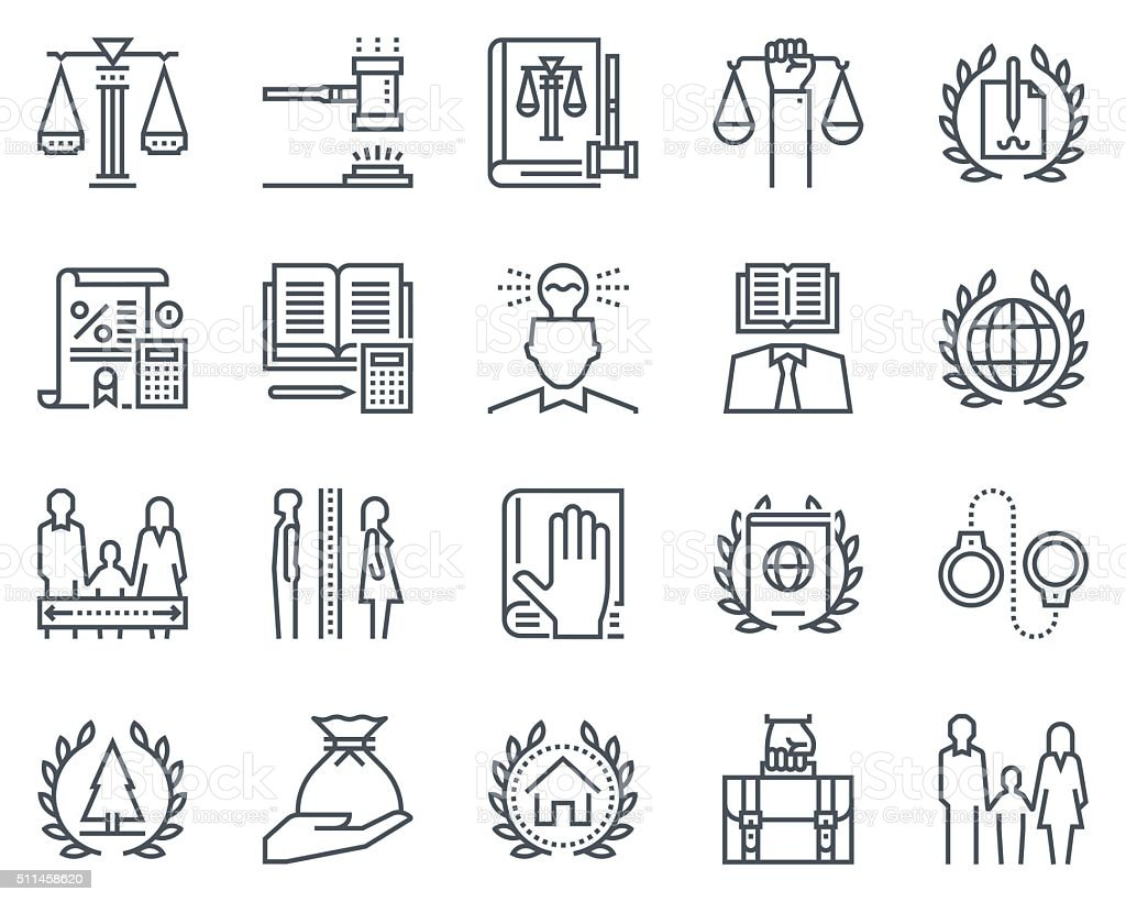 Law and justice icon set vector art illustration