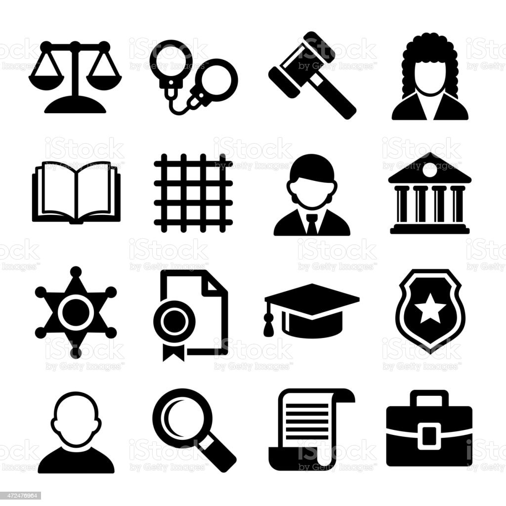 Law and Justice Icons Set. Vector vector art illustration