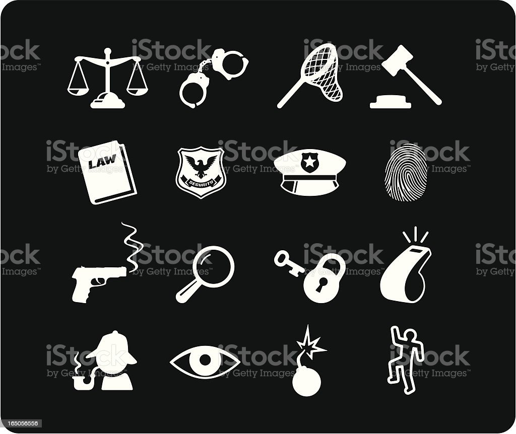 Law and Justice Icons - White royalty-free stock vector art