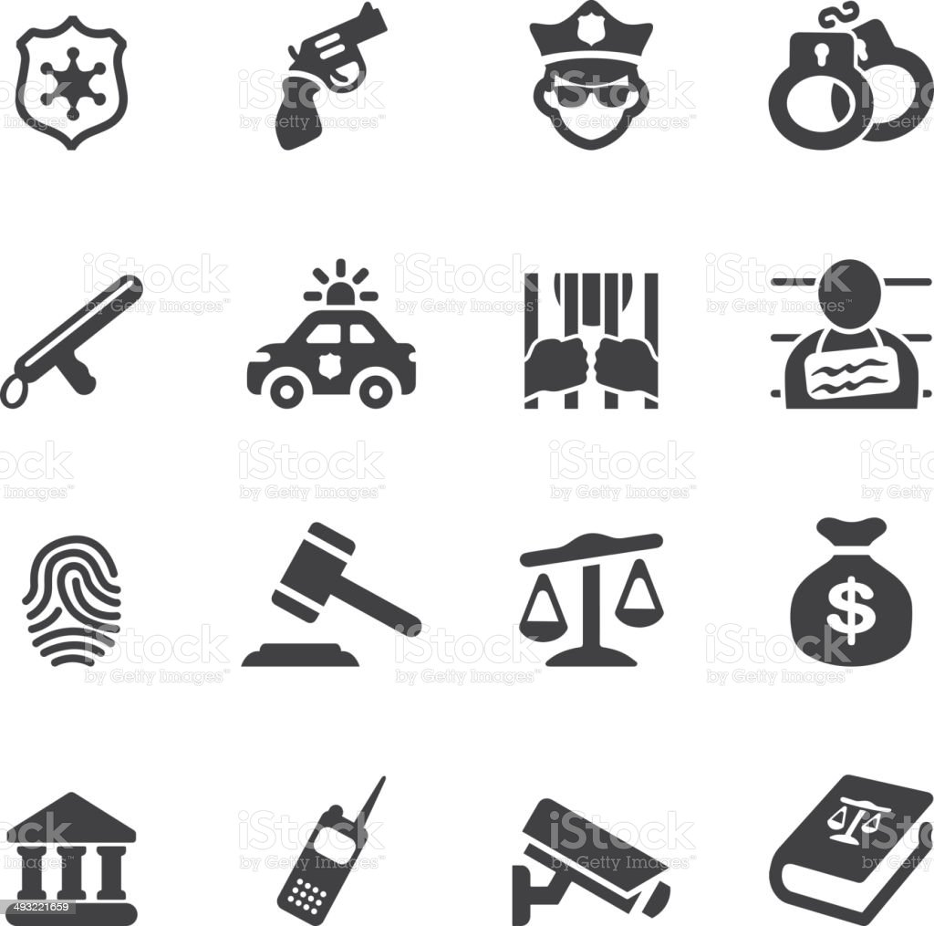 Law and Justice Silhouette icons| EPS10 vector art illustration
