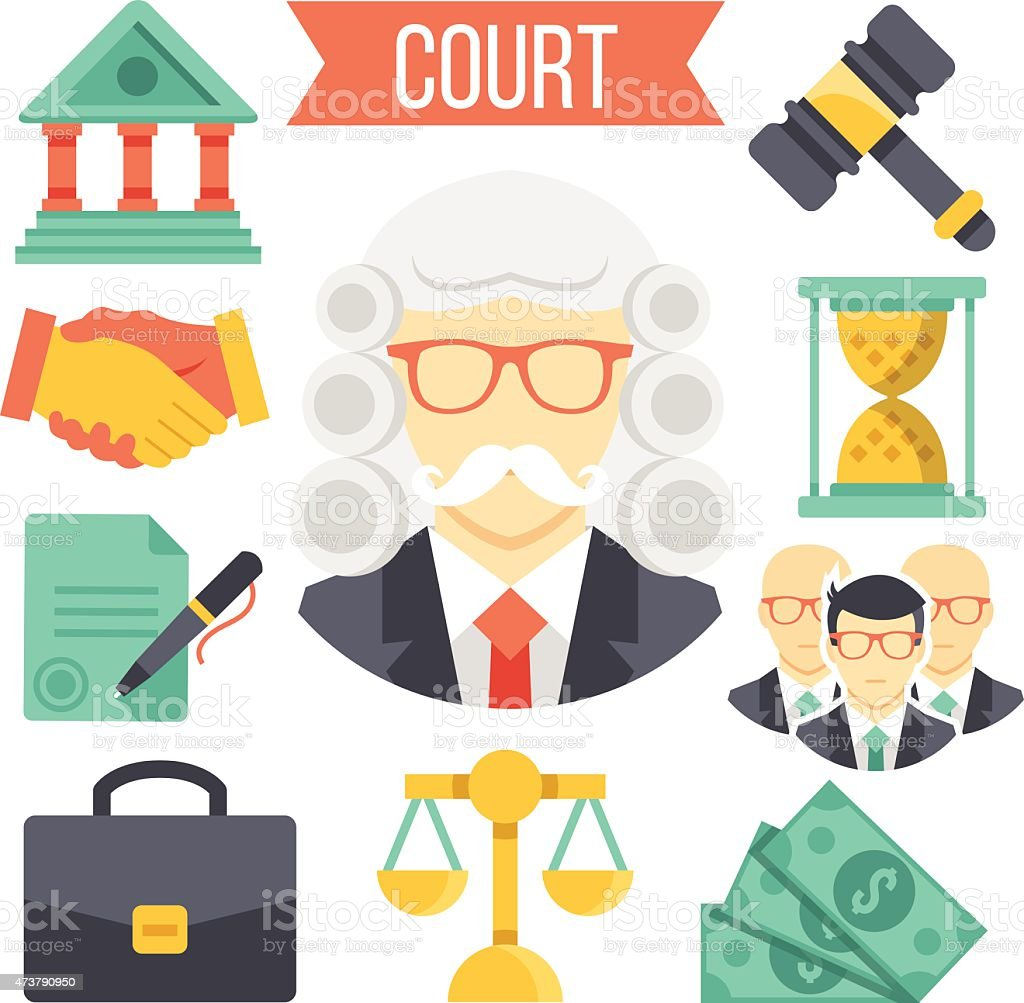 Law and justice vector icon set vector art illustration