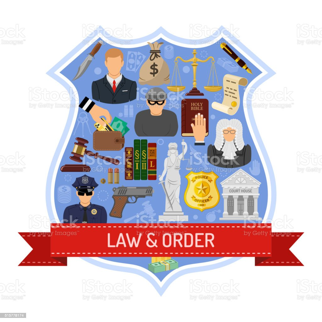 Law and Order Concept vector art illustration