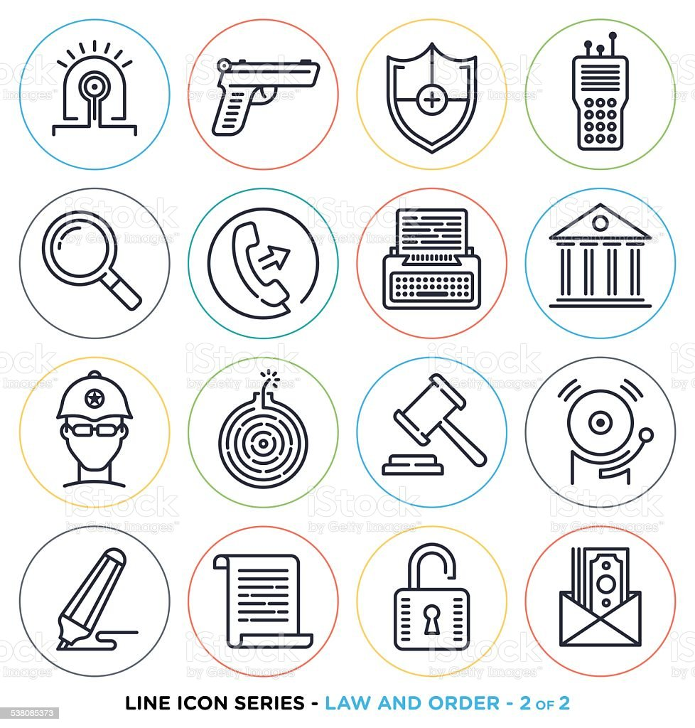 Law and order line icons vector art illustration
