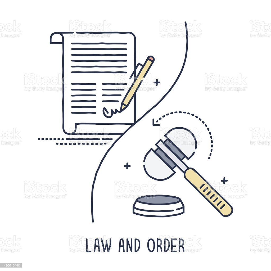 Law and Order Symbol vector art illustration