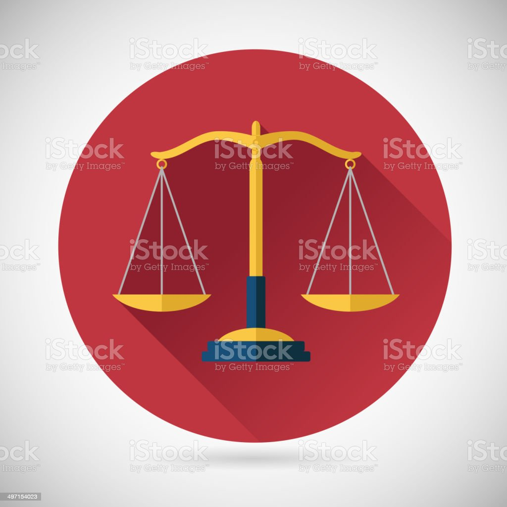 Law Balance Symbol Justice Scales Icon on Stylish Background Modern vector art illustration