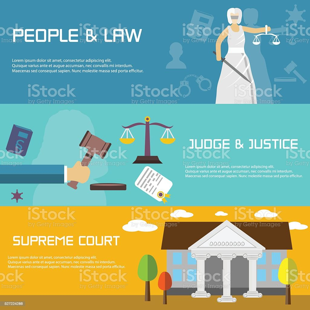 Law banners in flat design style. Supreme court. vector art illustration