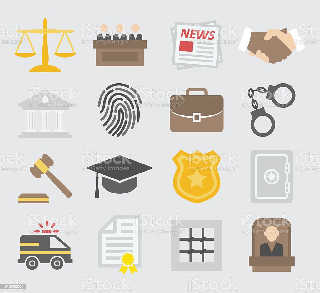 Law colorful icons vector art illustration