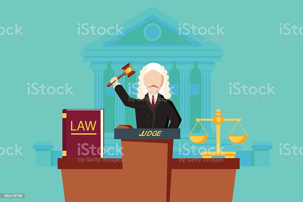 Law concept with judge and court building. vector art illustration