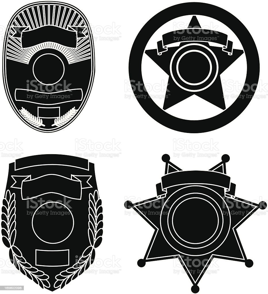 Law Enforcement Badge Silhouettes vector art illustration