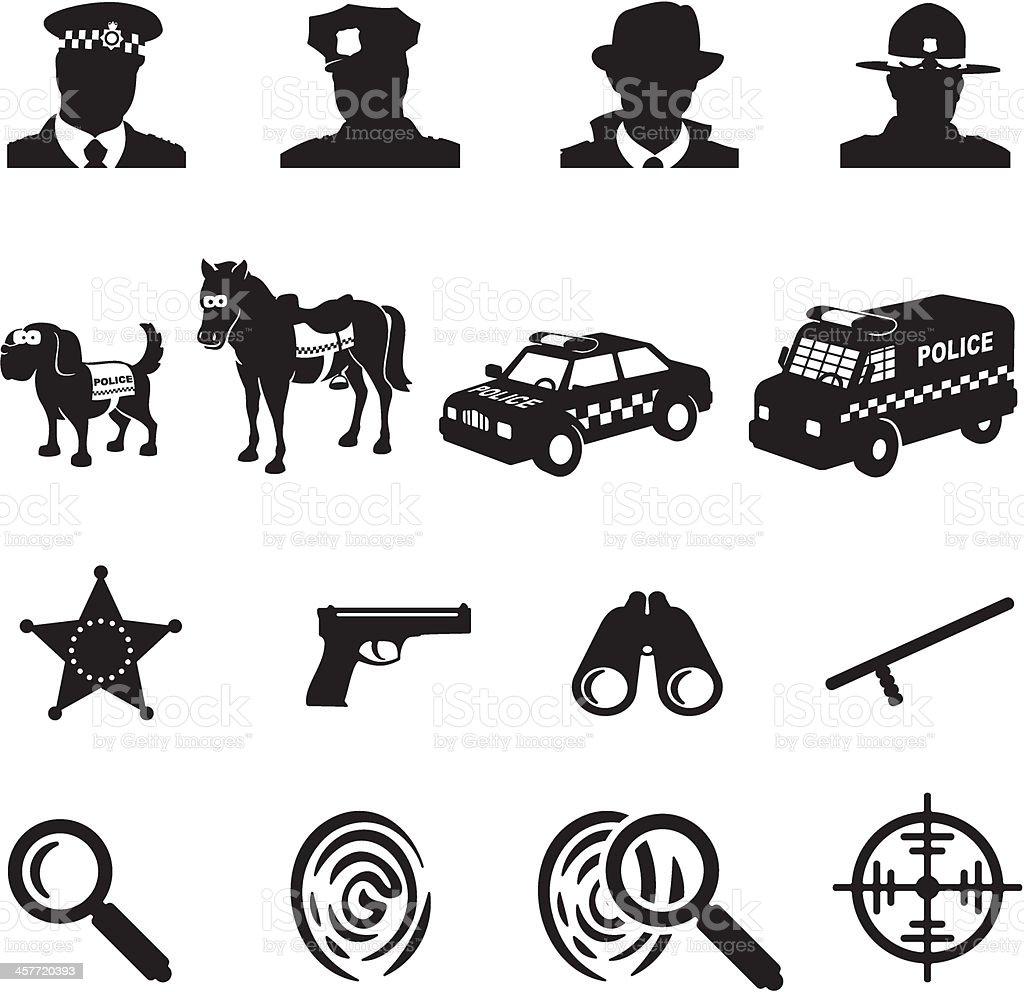 Law Enforcement Icons vector art illustration