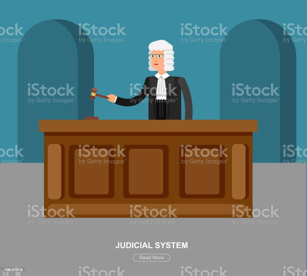 Law horizontal banner set with judical system elements isolated vector vector art illustration