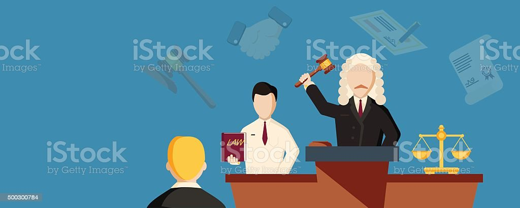 Law horizontal banner with lawyer vector art illustration