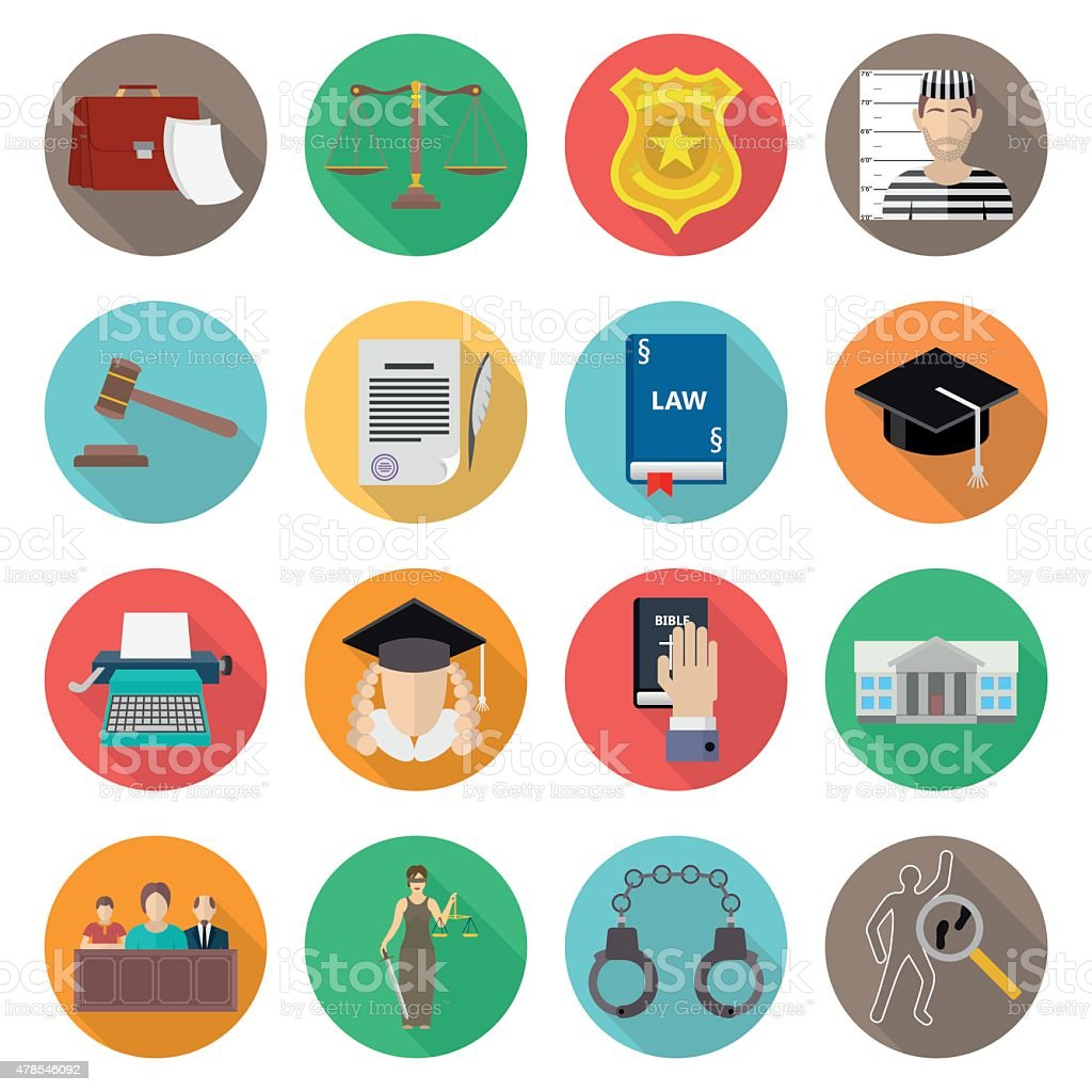 Law icon flat set with lawyer jail court jury vector art illustration