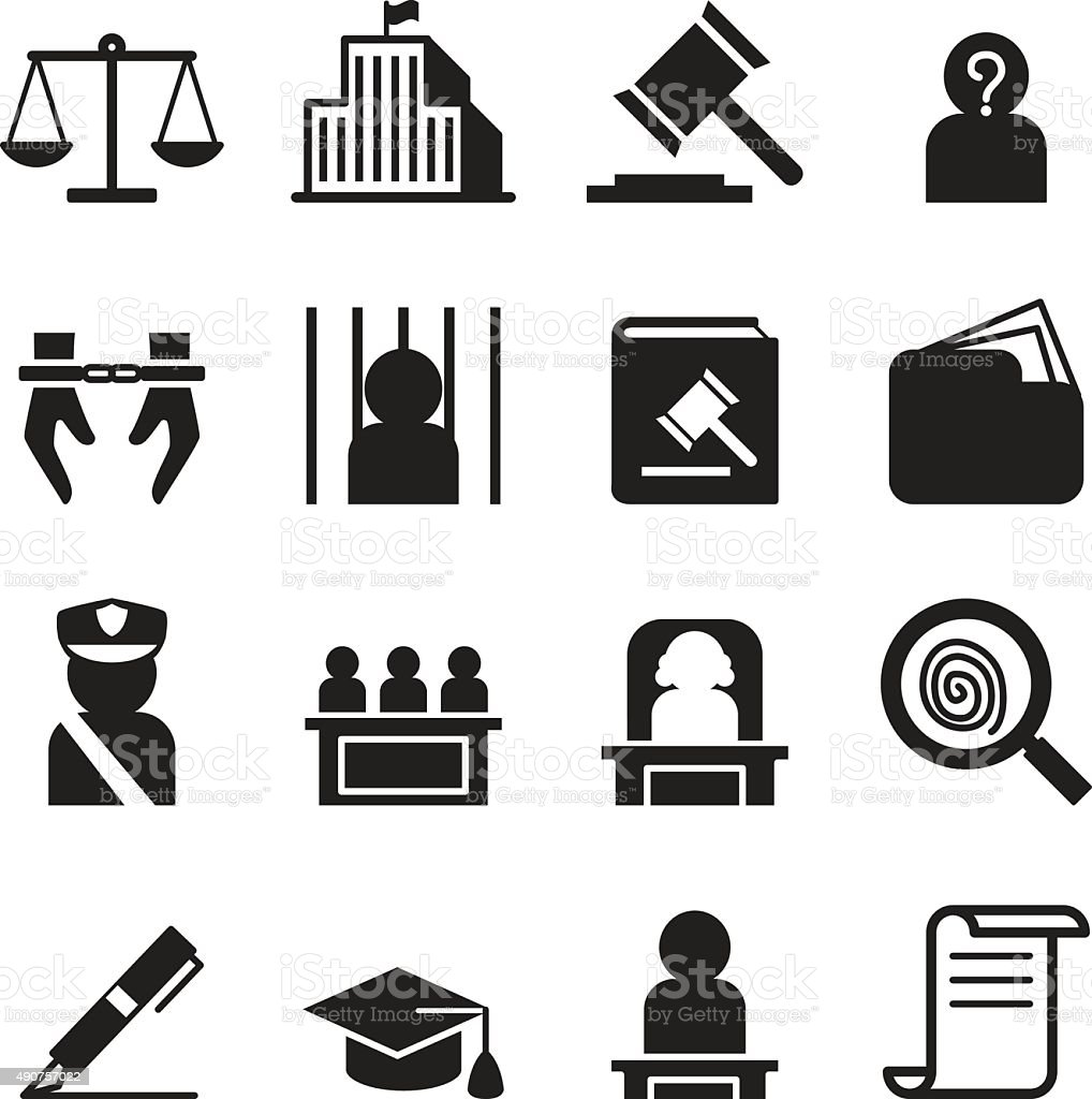 Law icon set vector art illustration