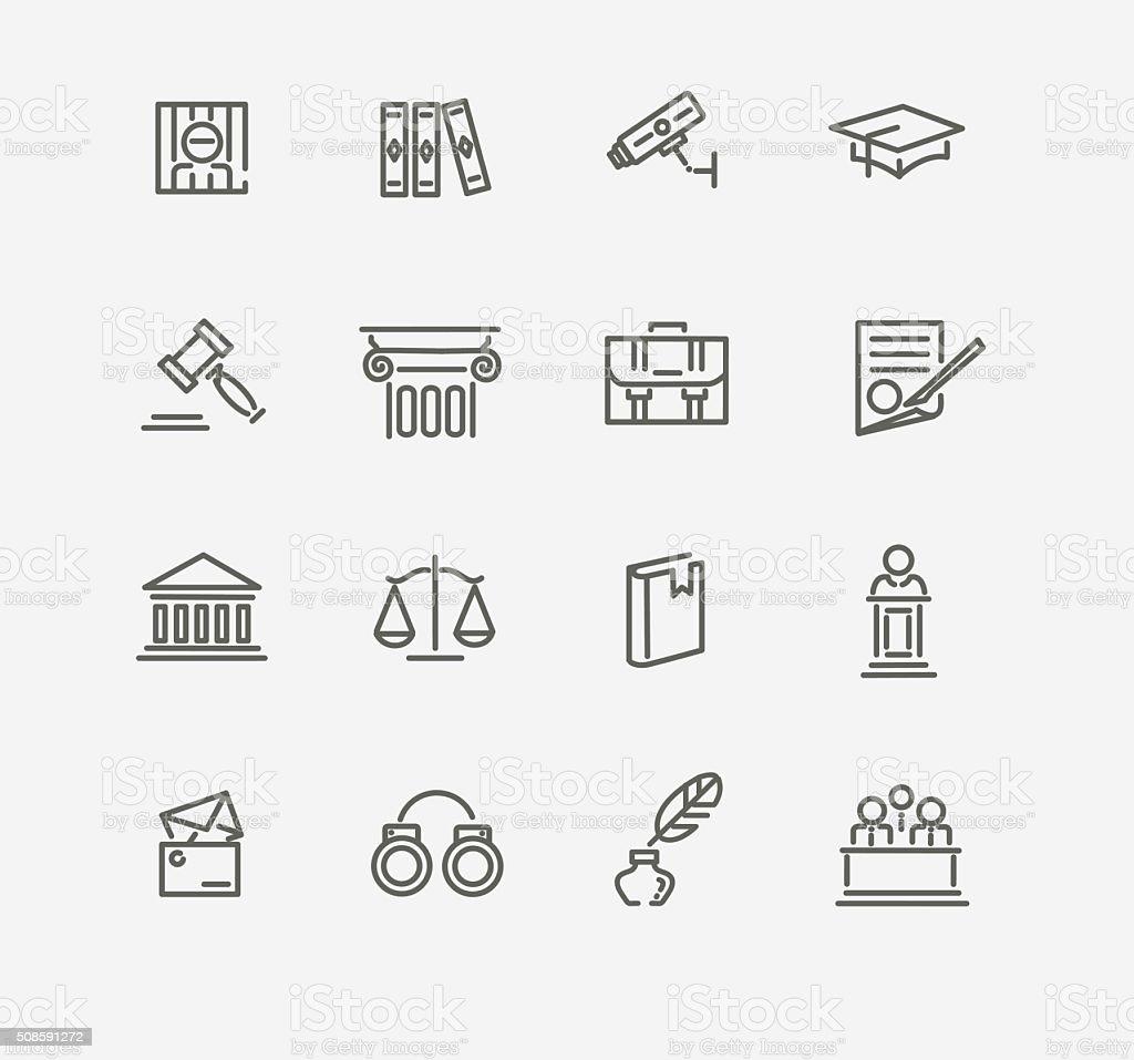 Law icon set vector art illustration