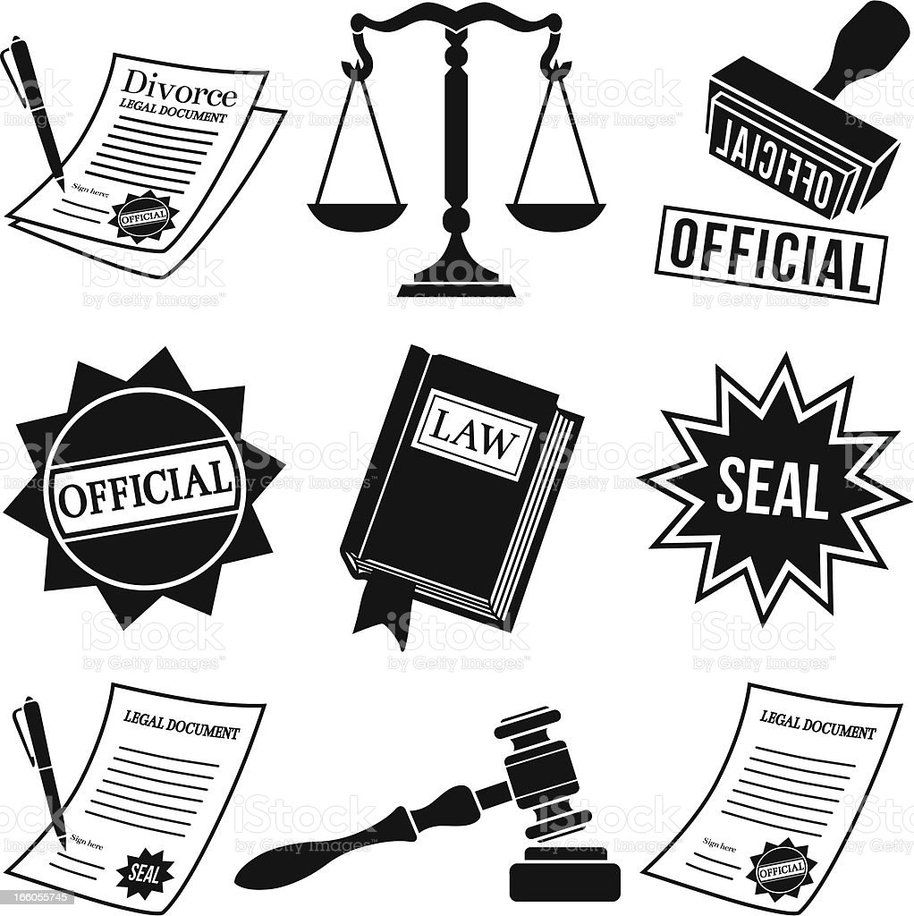 law icons and legal documents royalty-free stock vector art
