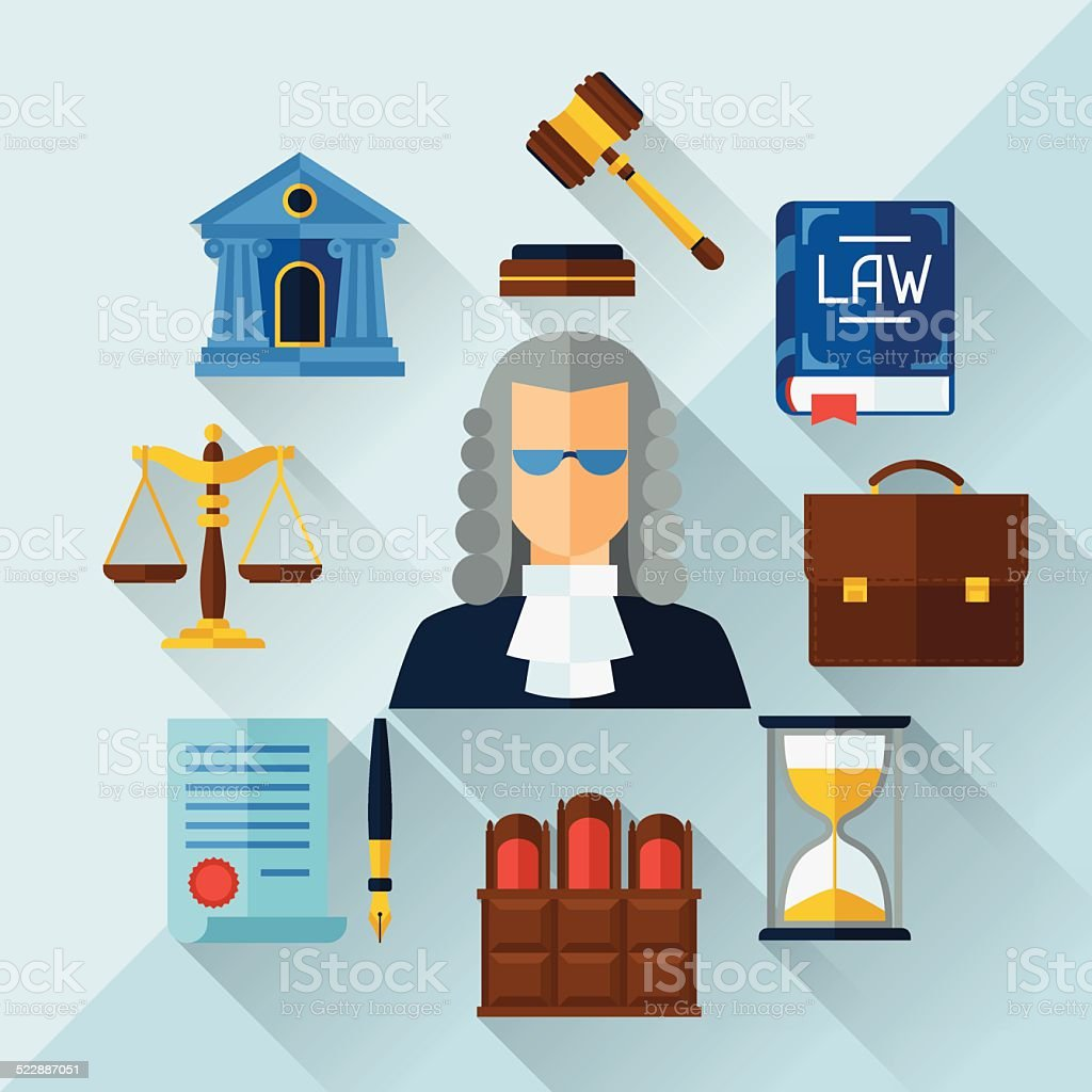Law icons background in flat design style. vector art illustration