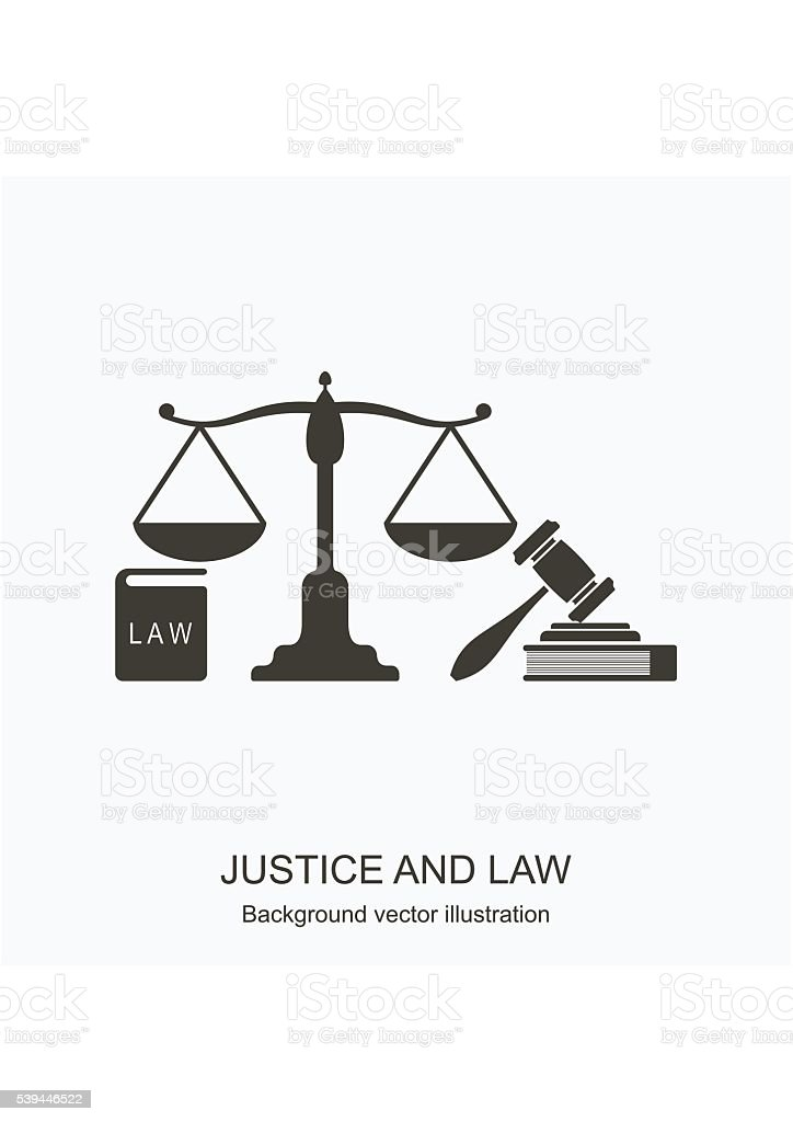 Law icons. Scales of justice, gavel and books. Concept vector art illustration