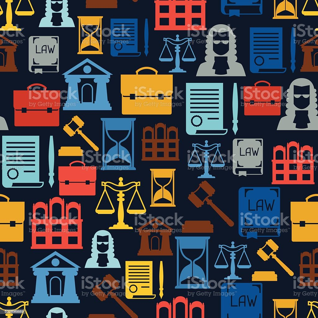 Law icons seamless pattern in flat design style. vector art illustration