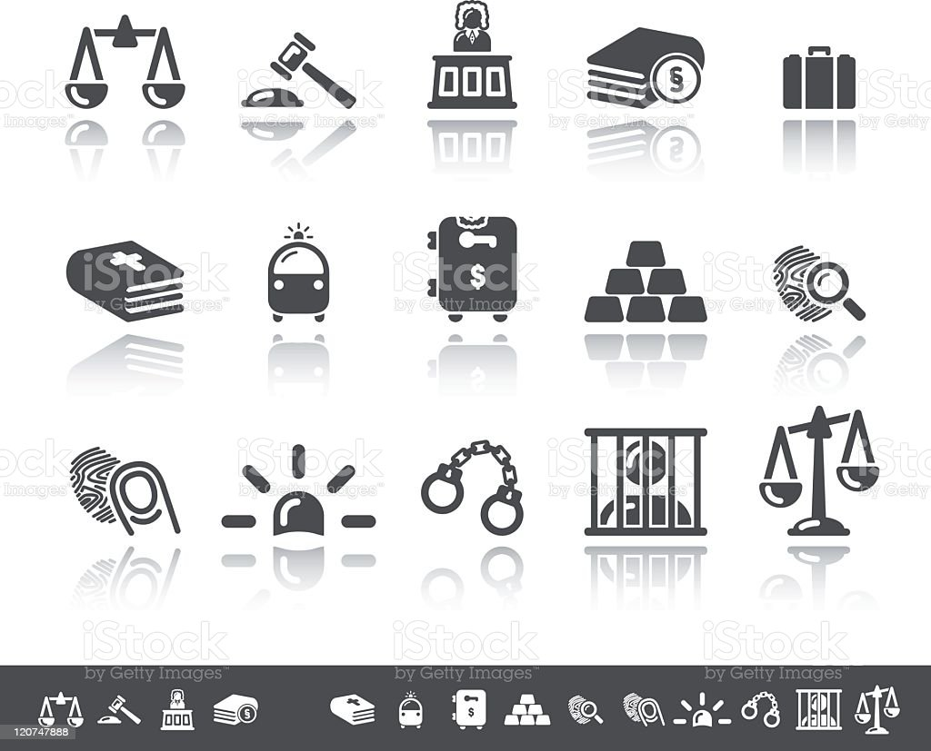 Law Icons | Simple Grey vector art illustration