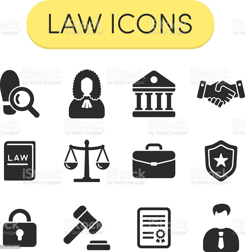 Law Icons vector art illustration