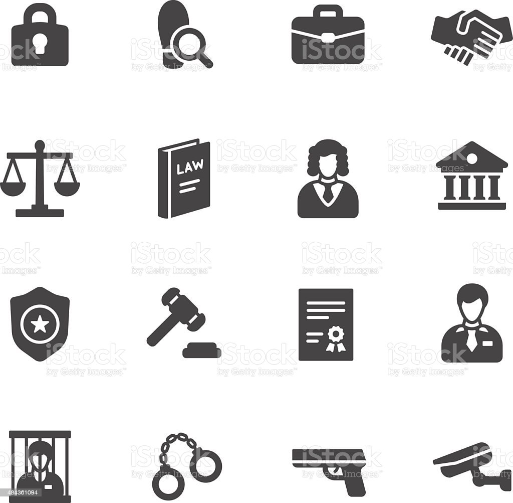 Law Icons vector art illustration