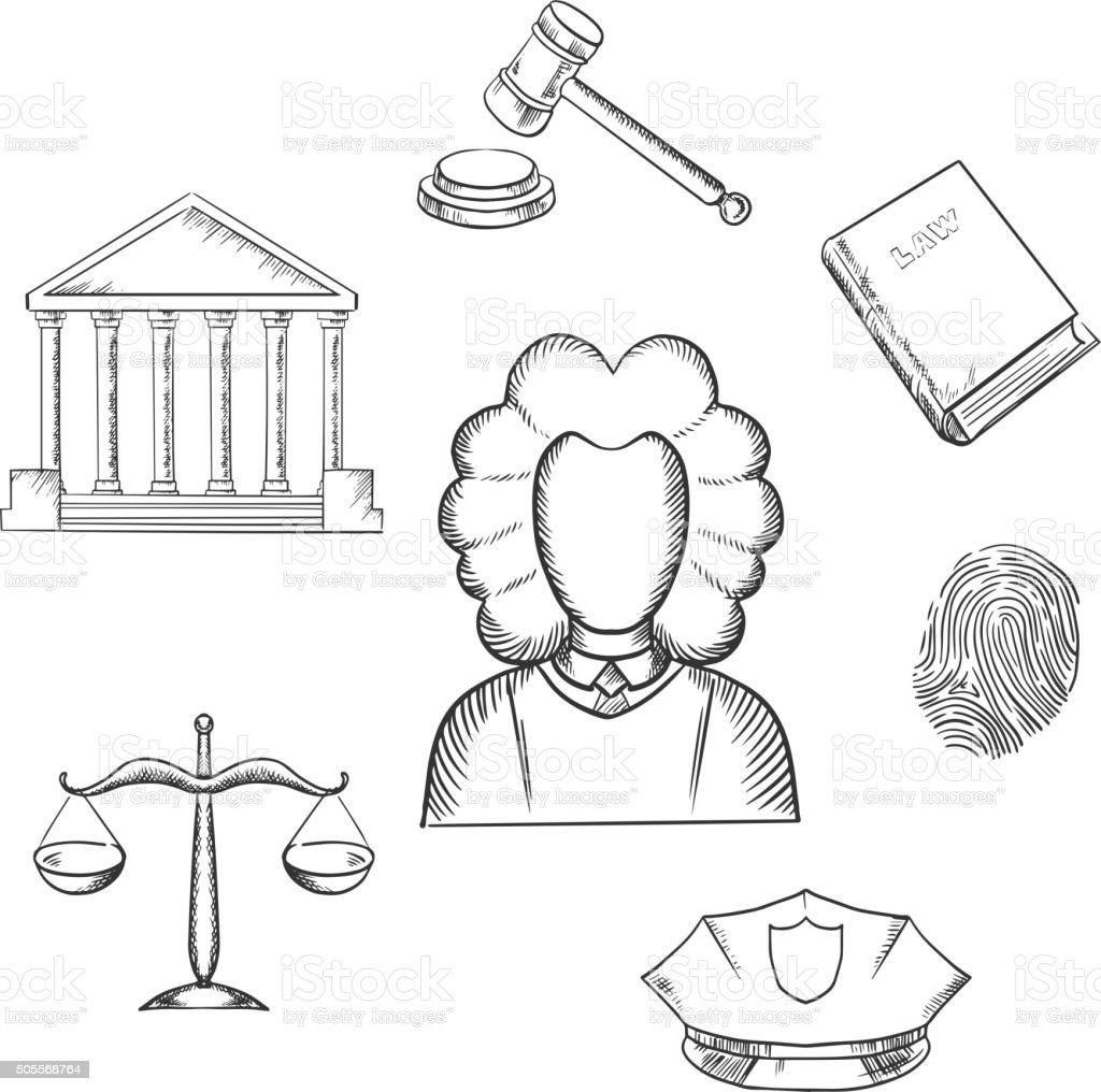 Law, judge and justice sketched icons vector art illustration