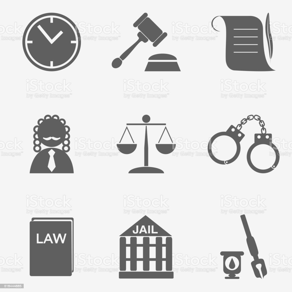 law judge icon set, justice sign vector art illustration