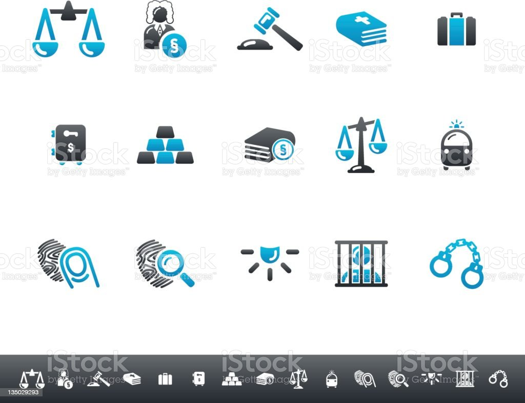 Law & Justice Icons | Blue Grey stock photo