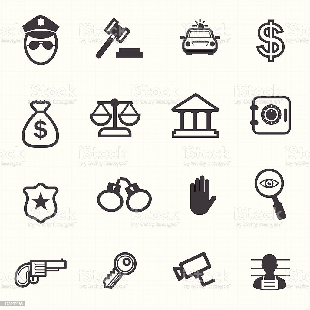 Law justice icons set vector art illustration