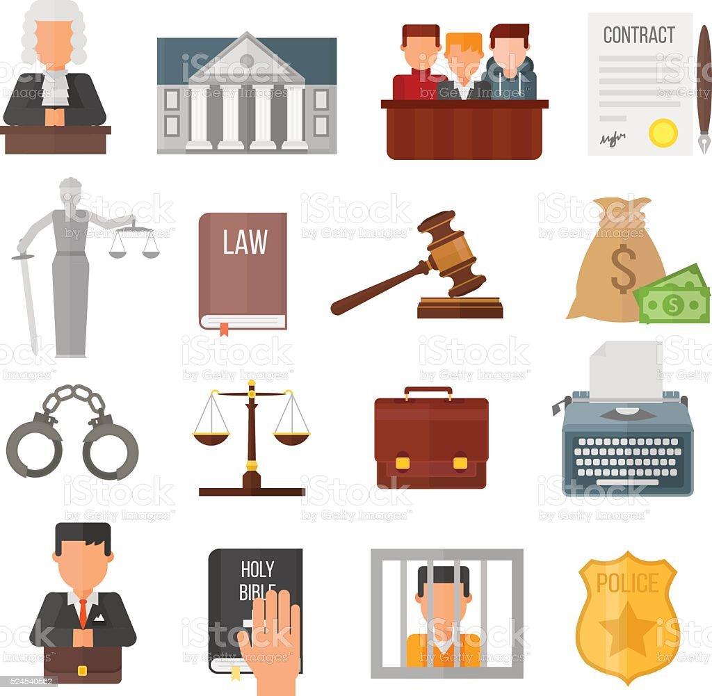 Law justice legal court lawyer judgment judge gavel symbol vector vector art illustration
