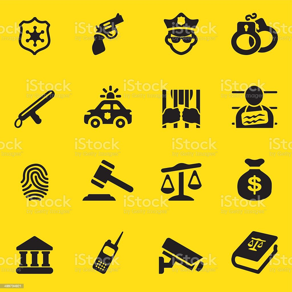 Law & Justice Yellow Silhouette icons| EPS10 vector art illustration