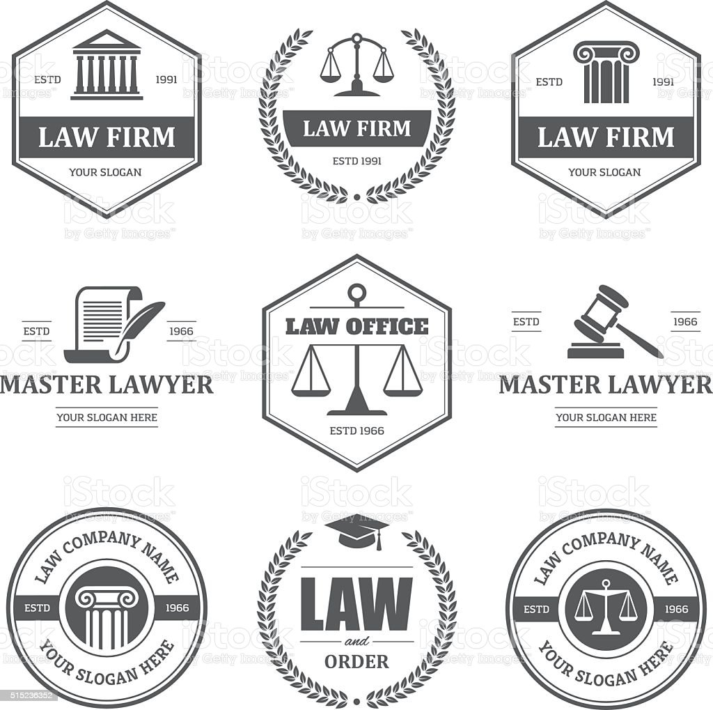 Law labels set vector art illustration
