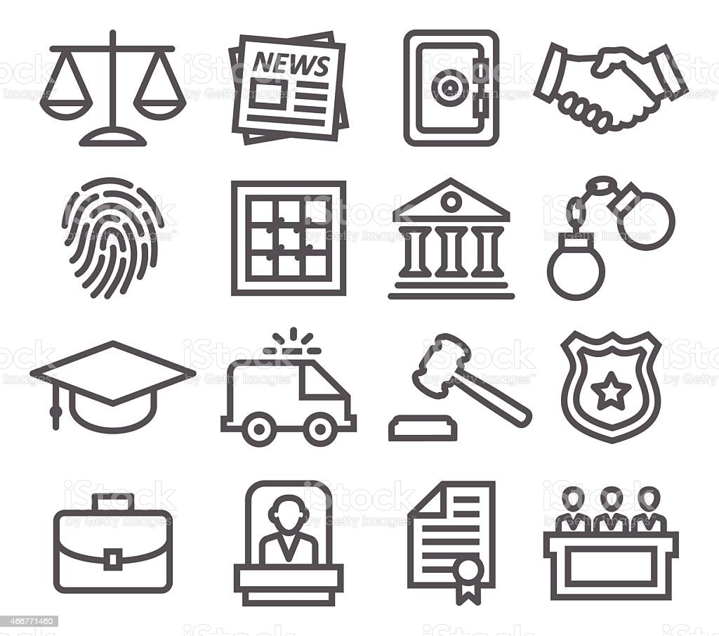 Law line icons vector art illustration