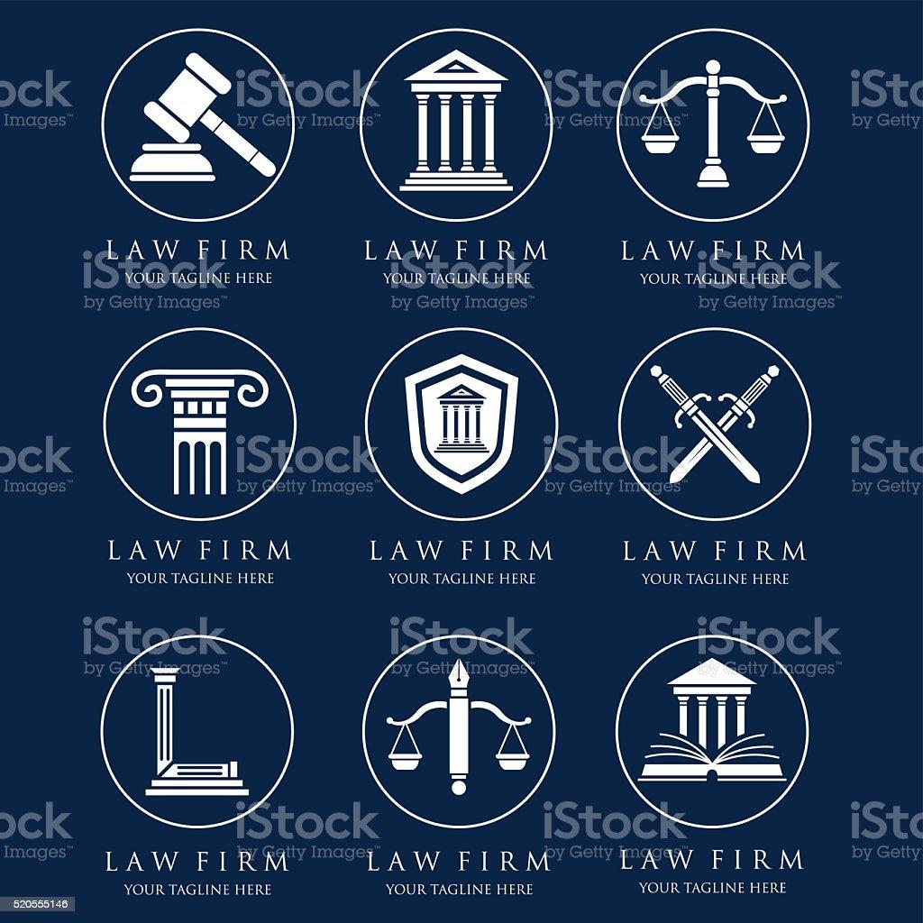 Law logos vector art illustration