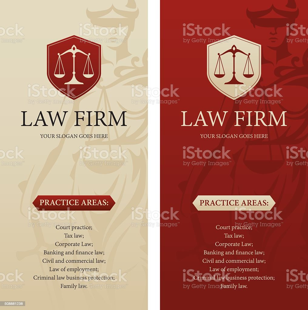 Law office, firm or company vertical banners vector art illustration