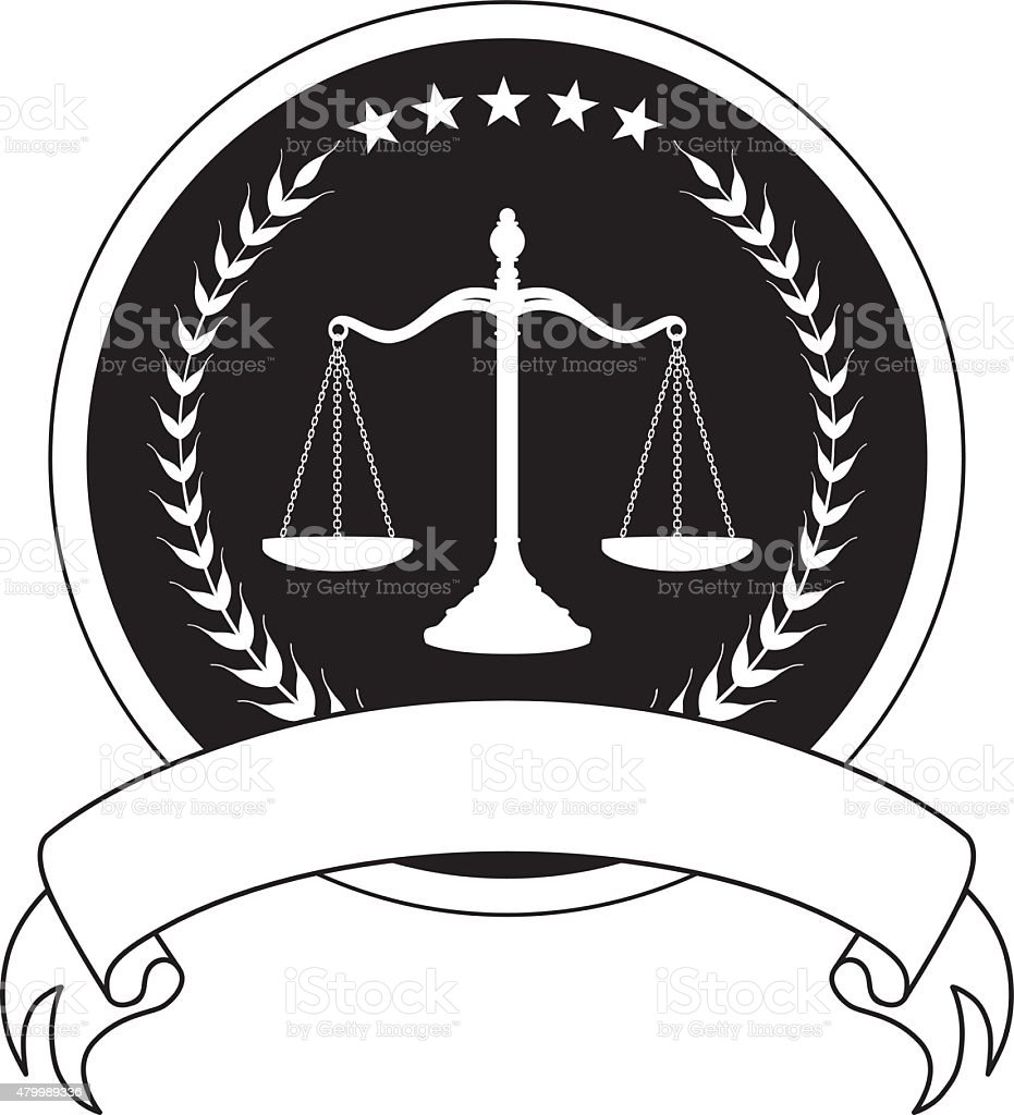 Law or Lawyer Seal With Banner vector art illustration