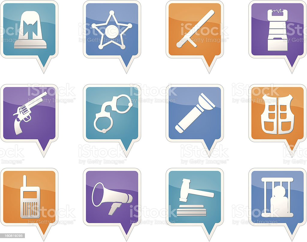 law, order, police and crime icons royalty-free stock vector art