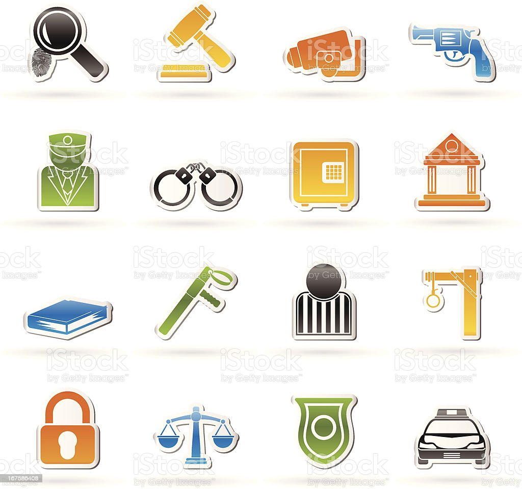 Law, Police and Crime icons royalty-free stock vector art