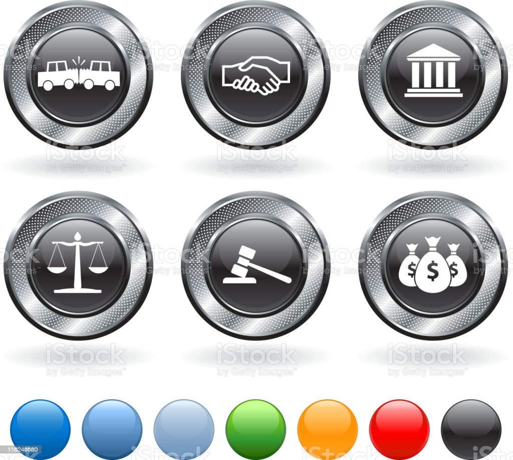 Law suit vector icon set on buttons with metallic border royalty-free stock vector art
