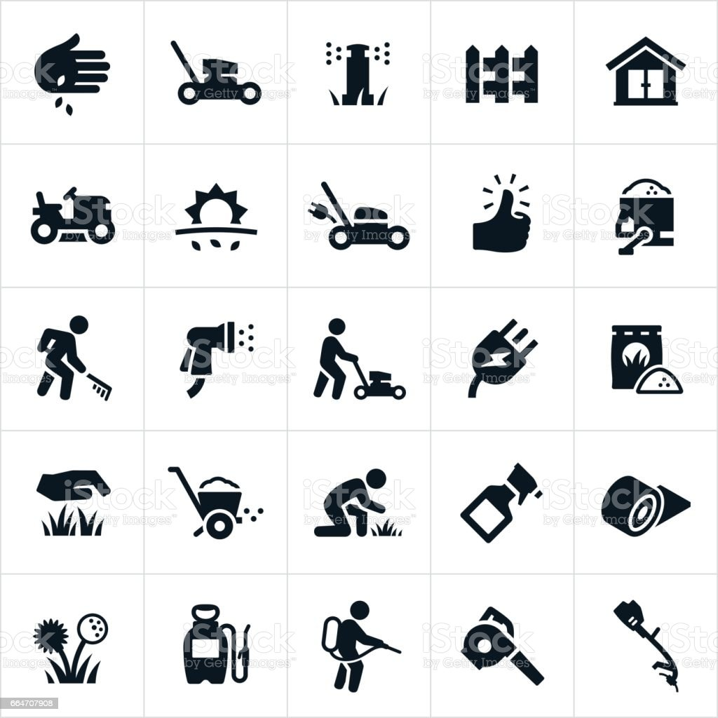 Lawn care icons stock vector art 664707908 istock for Lawn care vector
