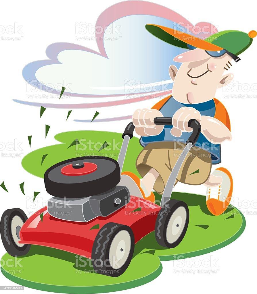 Lawn Mower Guy royalty-free stock vector art
