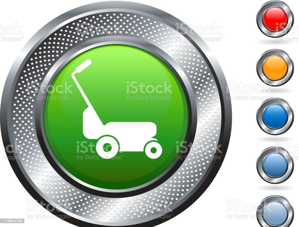 lawn mower royalty free vector art on metallic button royalty-free stock vector art