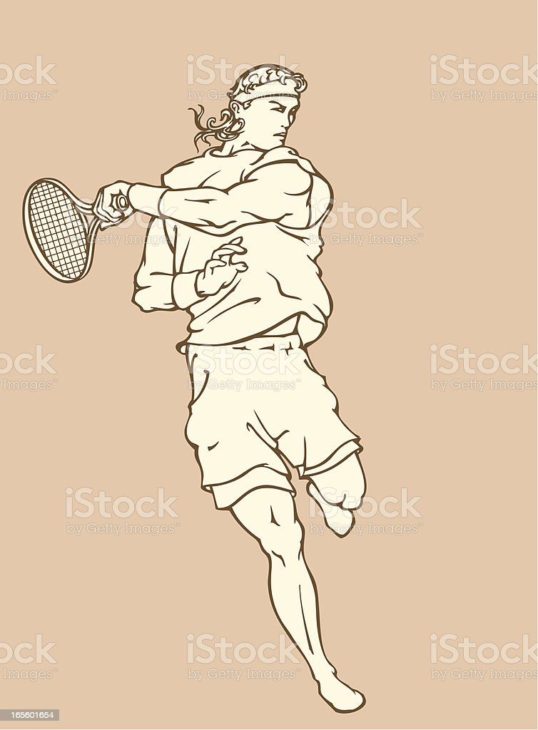 Lawn Tennis Player Swinging his racket royalty-free stock vector art