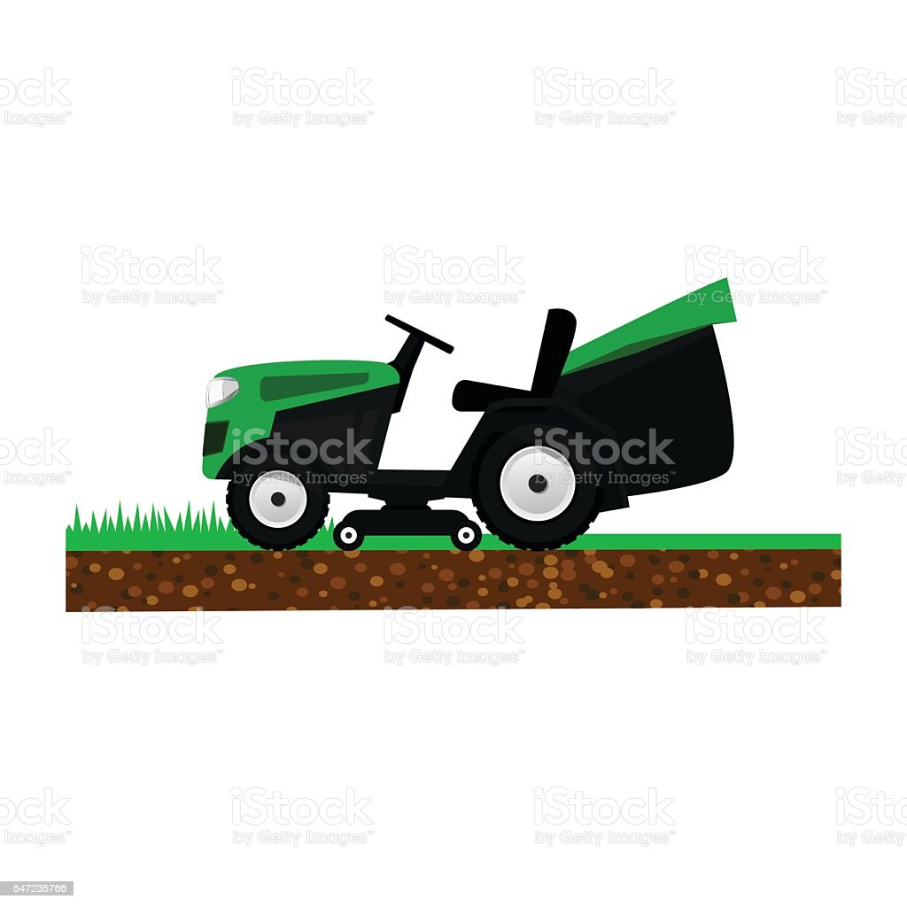 Lawnmower isolated on white background. Garden machinery for cutting grass vector art illustration