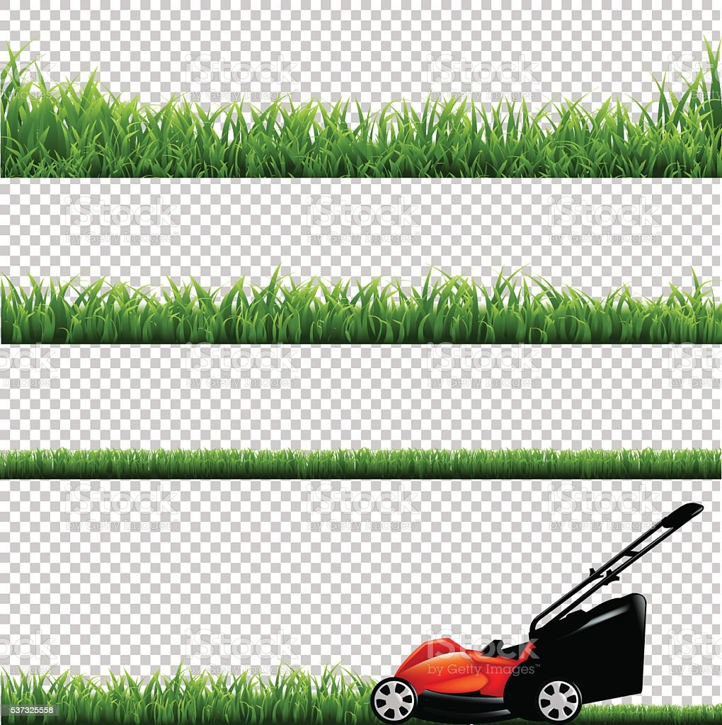 Lawnmower With Green Grass vector art illustration