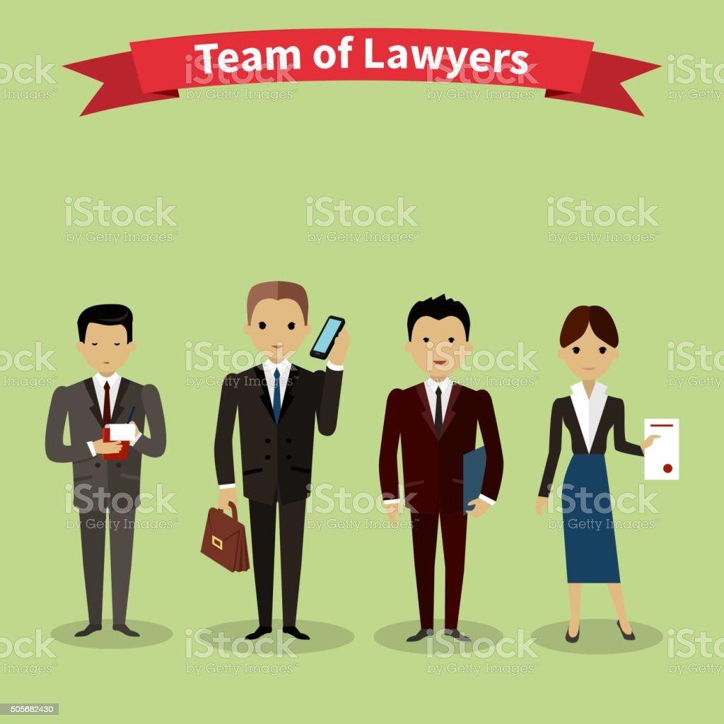Lawyers Team People Group Flat Style vector art illustration