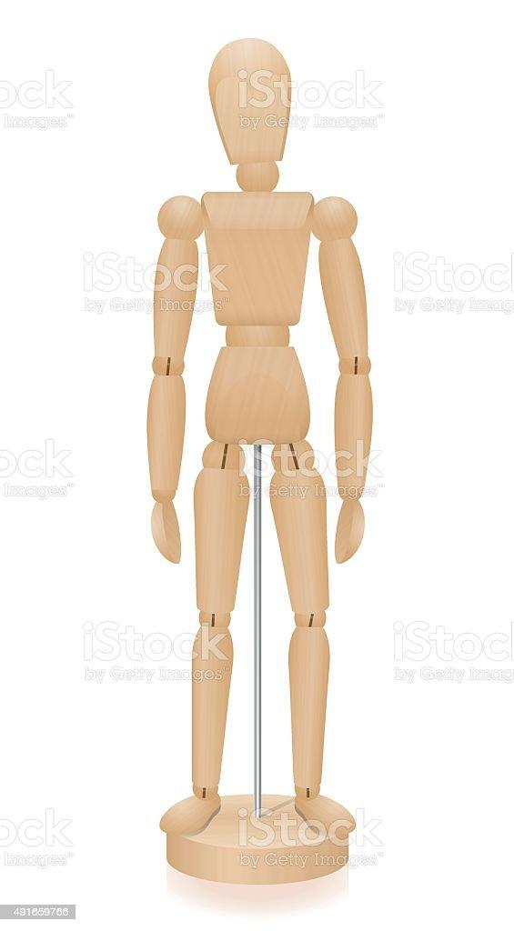Lay Figure Wooden Mannequin Basic Position vector art illustration