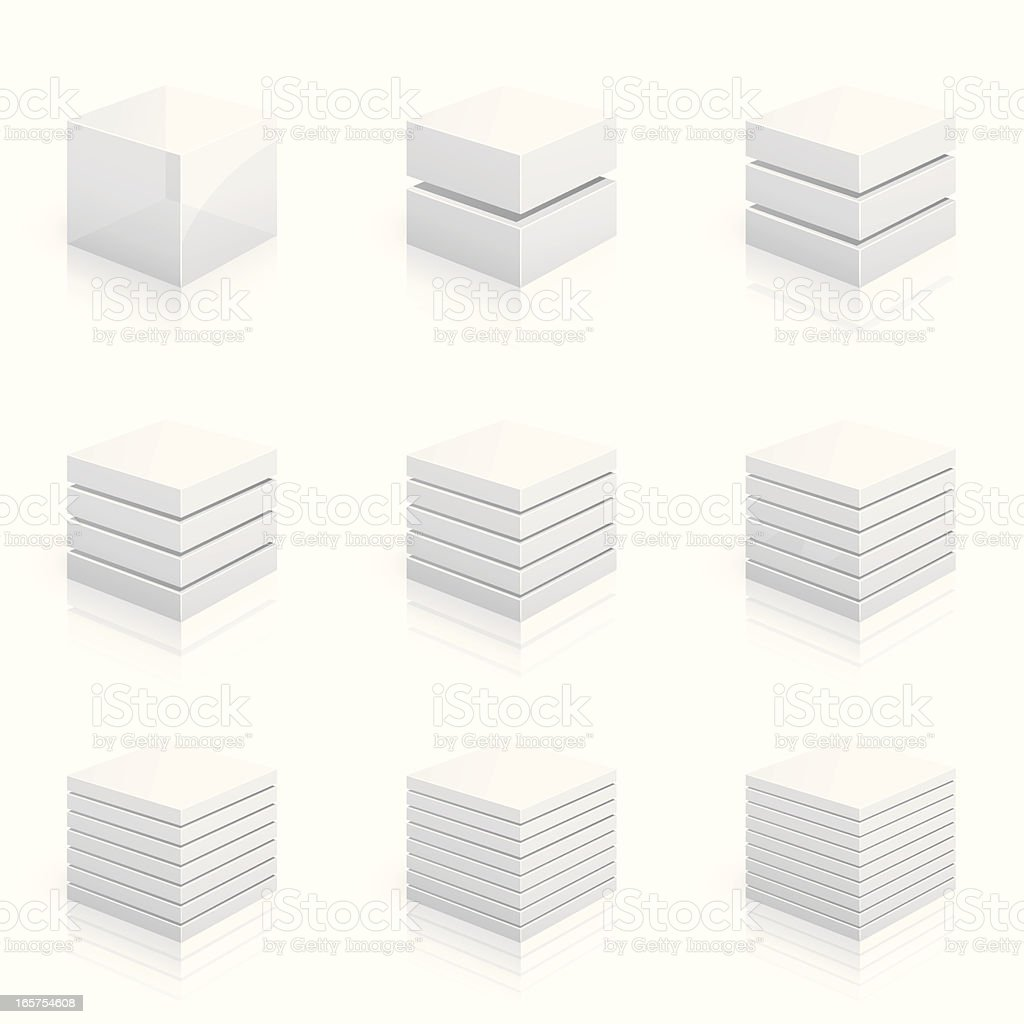 Layered cubes divided into two to nine rows vector art illustration