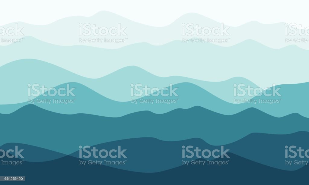 Layered mountains landscape in the morning vector art illustration